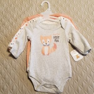 3/$20 Baby Girl Long Sleeved Fox Onesie 3pk